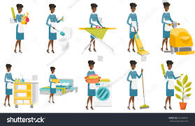 africanamerican housekeeping maid stack linen young stock vector
