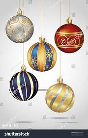 ornaments hanging on gold thread stock vector 88262851