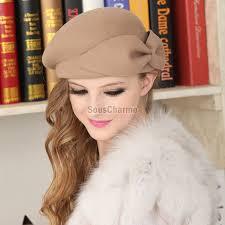 chapeau pour mariage femme beret pas cher pour mariage soirée en feutre brun
