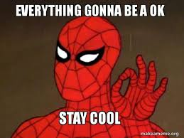 Stay Cool Meme - everything gonna be a ok stay cool spiderman care factor zero