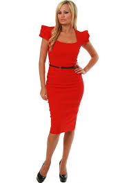 the pretty dress company dress red belted icon pencil dress as