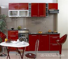 High Gloss Red Lacquer Kitchen Cabinet Design For Small Kitchen - Red lacquer kitchen cabinets