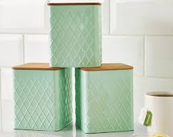 green canisters kitchen set of 3 pastel mint kitchen canisters with bamboo lids tea