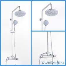 thermostatic shower u0026 taps chrome mixer drench twin head bathroom