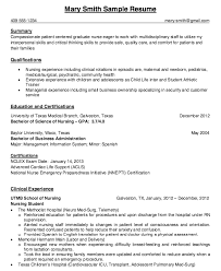 Example Resume Student by Resume Student Nurse Example Sample Resume For Nursing Student