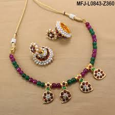 red necklace online images Red green colour beads with golden colour polished mango design jpg