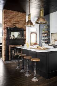 kitchen accessories brick wall fireplace black island base white