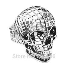 free shipping hollow out skull biker ring stainless steel jewelry