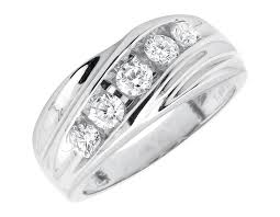 channel set wedding band men s 14k white gold diagonal channel set diamond wedding
