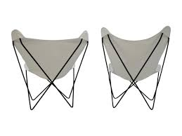Vintage Butterfly Chair Pair Mid Century Butterfly Chairs With New White Slings Sold