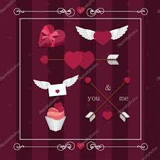 valentine s day happy valentines day set with hearts wings candy gift ribbon