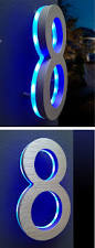 Lighted House Number Sign Luxello Modern Illuminated House Numbers Blue Surrounding Com