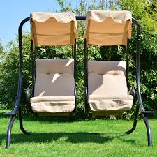green blue two seat patio swing with canopy mixed brown wooden
