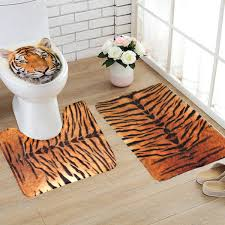 Bathroom Contour Rug Flannel Tiger Pattern Theme Toilet Rug Bathroom Contour Mat Non