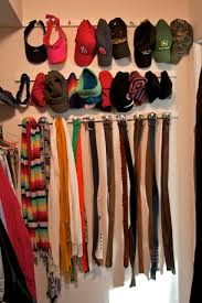 Closet Ideas Organizing Hat Scarves And Belt With Diy Wood Holder And Hooks In