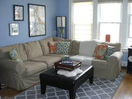 blue and grey living room glass windows brown fabric loveseat