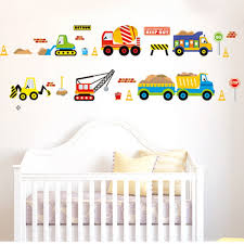 cartoon construction site trucks removable wall sticker mural kids does not apply