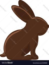 chocolate bunny ears silhouette of chocolate rabbit with ears vector image