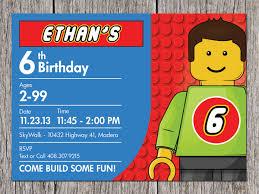 A Birthday Invitation Card Lego Birthday Party Invitations Kawaiitheo Com