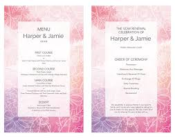 vow renewal ceremony program pink and purple watercolor sketch vow renewal invitation