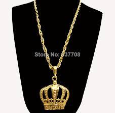 hip necklace chain images New 2014 men hip hop rap 18k gold long crown pendant statement jpg
