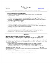 Resume Project Manager Construction Manager Resume Word Construction Project Manager Resume In Pdf