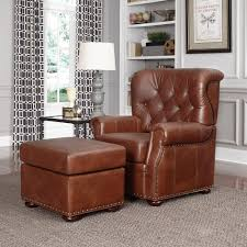 Chairs With Ottoman Home Styles Miles Saddle Brown Faux Leather Arm Chair With Ottoman