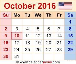 blank calendar october 2016