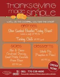 brenau catering thanksgiving menu brenau update