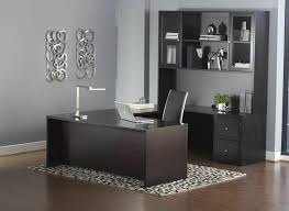 U Office Desk Premium Espresso U Shaped Executive Desk With Hutch Mobile File