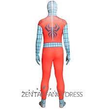 halloween cyan orange color block spandex lycra spiderman