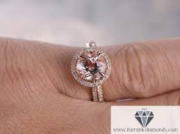7mm diamond 7mm cut morganite engagement ring set matching curved