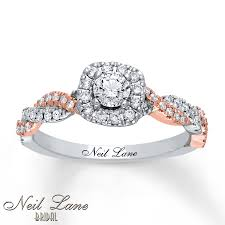 two tone gold engagement rings neil engagement ring 1 2 ct tw diamonds 14k two tone gold