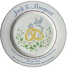 50th wedding anniversary plate personalised golden wedding anniversary plate with 2 gold bands