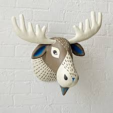 White Elephant Head Wall Mount Faux Animal Heads Paper Mache U0026 Stuffed The Land Of Nod