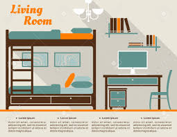 living room modern interior design infographic in flat style