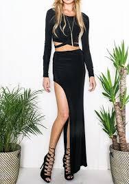 black plain irregular cut out two piece side slit maxi dress