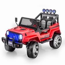 red toy jeep sportrax jeep wrangler style 4wd kids car battery powered riding