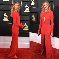 elegant red long sleeve evening dress faith hill grammys 2017 red