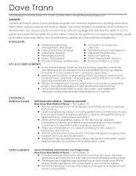 Dba Resume Sample by Database Resume Resume For Your Job Application