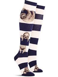 sloth stripe animal knee high socks for