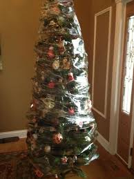 after wrap your entire tree with saran wrap for easy