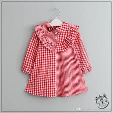 2018 plaid dresses baby cotton ruffle dress babies