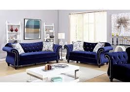 Curved Back Sofas Broadway Furniture Jolanda Blue Curved Back Sofa And Loveseat
