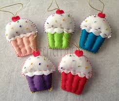 set of 6 handmade felt cupcake ornaments favors