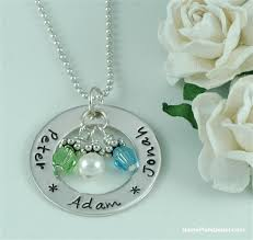 mothers necklaces with names and birthstones s jewelry gift sted silver necklace with name and