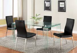 contemporary all glass dining table set with black reptile leather