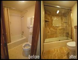 before and after images of bathroom shower remodels condo captivating small bathroom remodel idea with classy textured floor tile and shower wall tile in brown also glass tub shower enclosure with rectangle bathtub