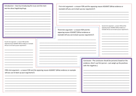 balanced argument planning template u0026 connectives by nahoughton