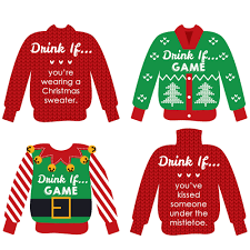 drink if game ugly sweater christmas party game 24 count